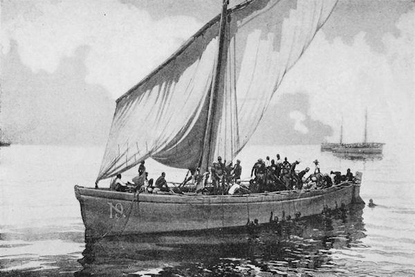 Традиционная лодка доу, ловля жемчуга