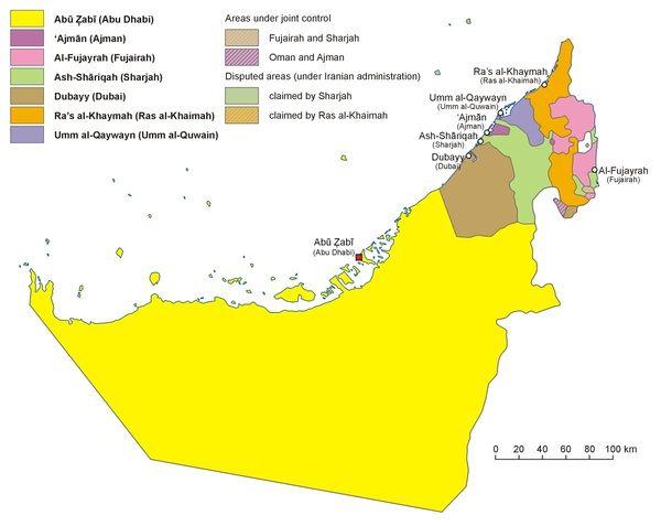 Карта ОАЭ с разбивкой по Эмиратам